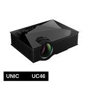 【プロジェクター】小型お手軽マルチプロジェクター UNIC UC46 LED 無線Wi-Fi接続可能 1200ルーメン 1080p Miracast DLNA Airplay ブラック【あす楽対応】