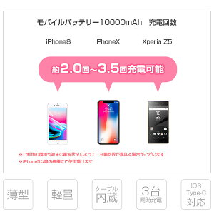 3台同時充電可能ケーブル内蔵モバイルバッテリー大容量iOS/Android対応【レビューでプレゼント】10000mAh軽量薄型急速充電器ALPHALINGw-06スマホiPhoneアイコスiqos