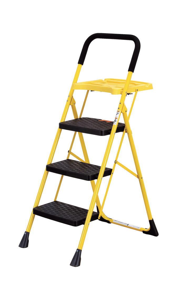 便利なトレー付き折りたたみ脚立3段脚立ステップ踏み台らくらく折りたたみ式洗車大掃除DIYステップ台踏台ふみだい脚立(倉出し)