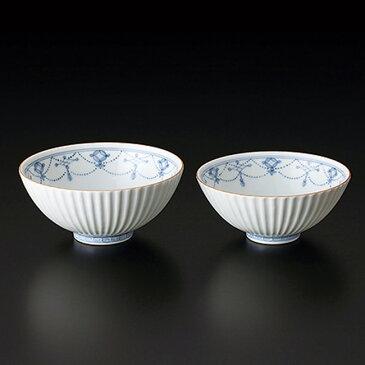 送料無料 和食器 たち吉 青華瓔珞文 夫婦茶碗 桐箱入 500-0087 たちきち