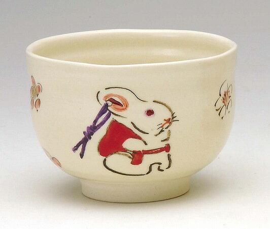 茶道具 抹茶茶碗小茶碗 色絵 土鈴兎浅見与し三(よしぞう)作