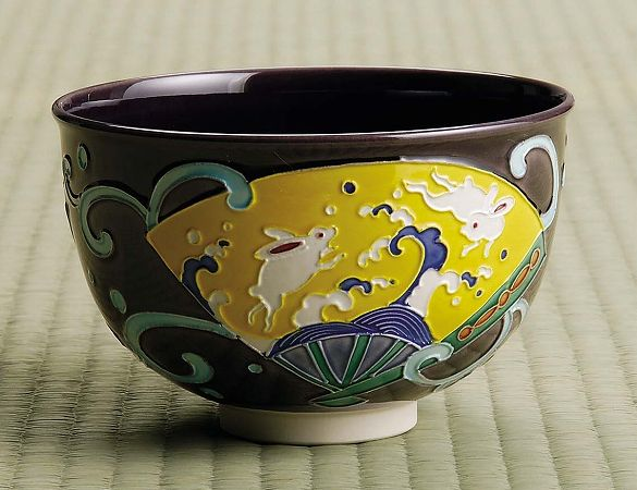茶道具 抹茶茶碗紫交趾 扇面に兎京都 中村翠嵐作