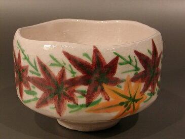 抹茶茶碗白楽 紅葉絵七世 川崎和楽作