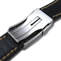 20mmMiLTAT時計ベルトアニリンカーフブラック/ハンドステッチング/フリップロッククラスプ