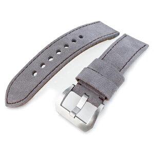 24mm MiLTAT Watch Belt Nubuck Light Gray / Brown Stitch Brushed Buckle Panerai 44mm