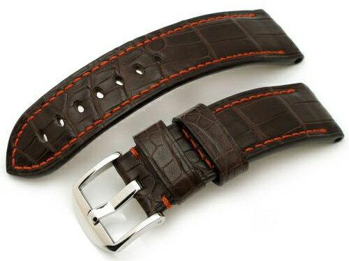 24mm TAIKONAUT 時計ベルト ホーンドボニークロコダイル マットマロンブラウン パネライ44mm:時計ベルトのタイコノートジャパン