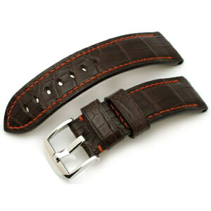 24mm TAIKONAUT Watch Belt Horned Bonnie Crocodile Matte Maron Brown Panerai 44mm