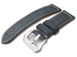 24mmMiLTAT時計ベルトクロコグレーンライトグレー/ベージュステッチ