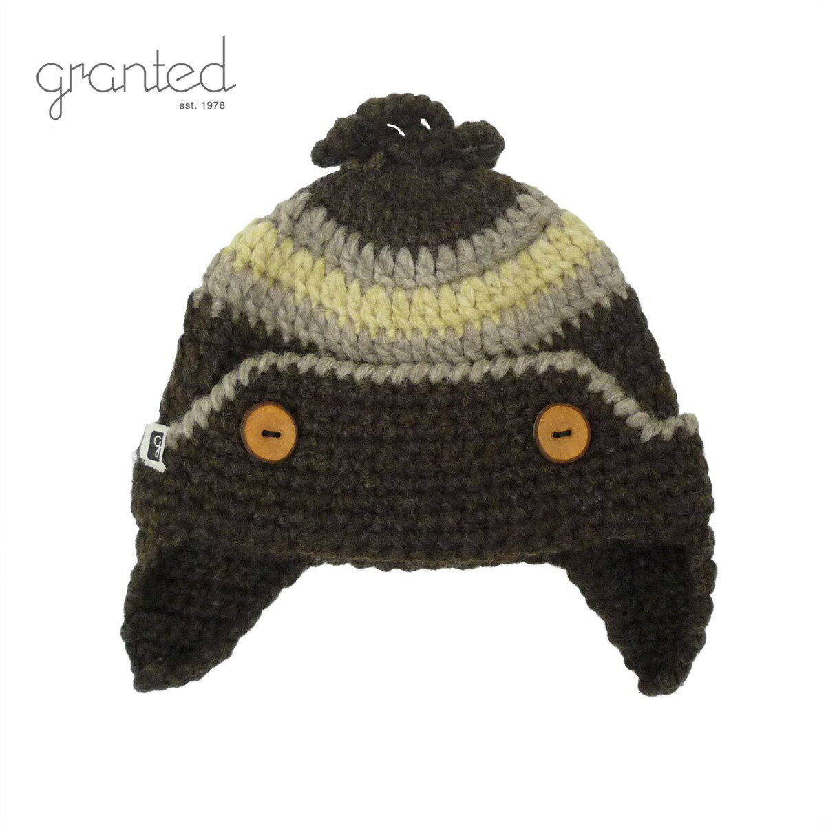 GRANTED グランテッド KNIT CAP FLAT EAR BUTTON HAT