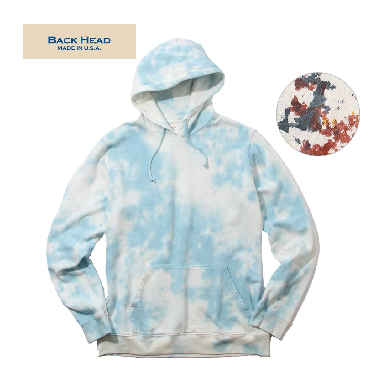 BACK HEAD バックヘッド MADE IN USA TYEDYE SWEAT P/O HOODIE