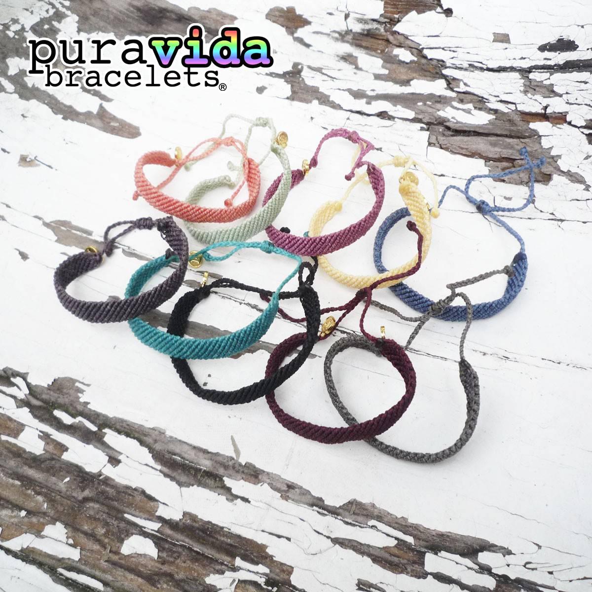 puravida bracelets プラヴィダ ブレスレット フラットブレイデッド ソリッドカラー