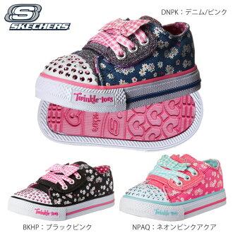 供供suketchazu(SKECHERS)小孩鞋LED Shuffles-Daisy Dotty Twinkle Toes 10469N三鯉魚/黑色小孩使用的鞋女人的孩子使用的型號