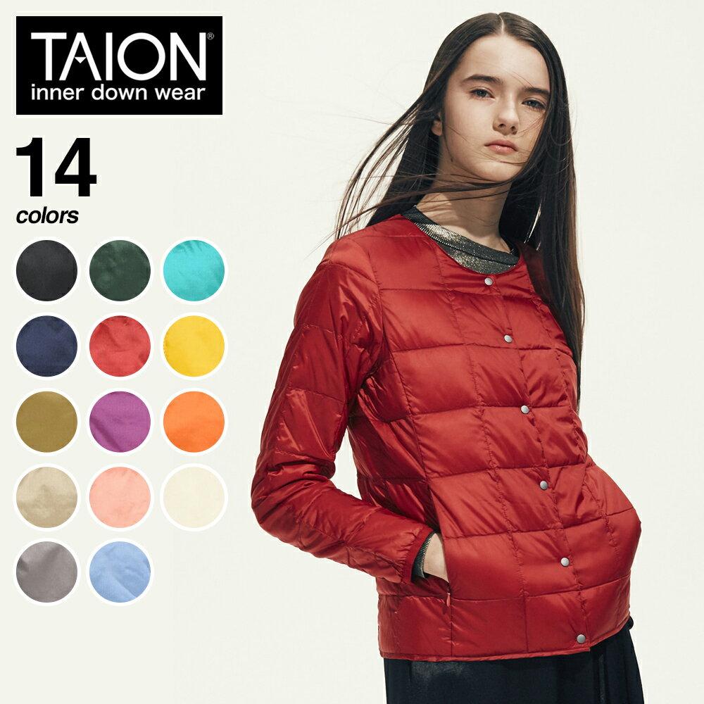 TAION(タイオン)『レディースクルーネックボタンインナーダウンジャケット(TAION-W104)』