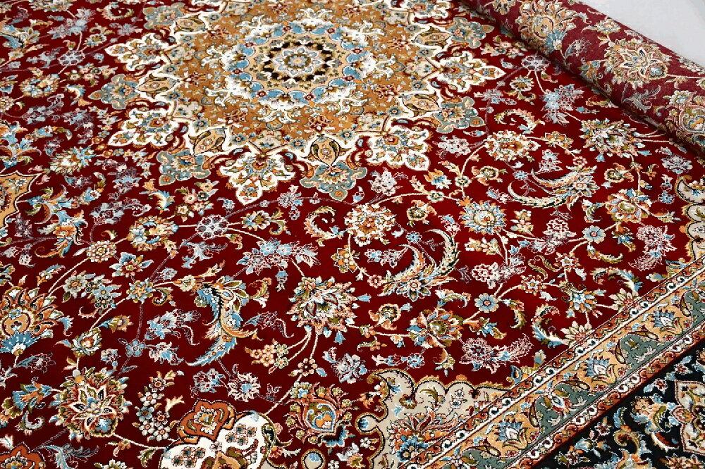 絨毯300x300cm(8畳中敷きラグ)ペルシャ絨毯カーペット厚手豪華◇廃盤イスファハン300×300◆