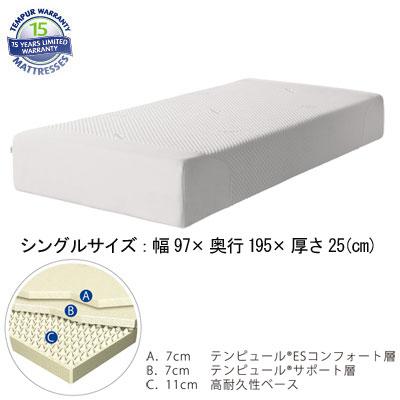 かためのテンピュールマットレス【送料無料】クラウド25 シングルサイズ     【テンピュ...
