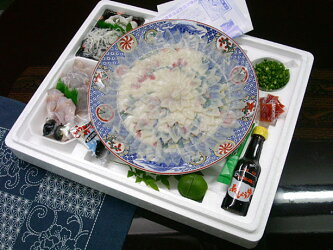 36cm陶磁絵皿付きとらふぐフルコース