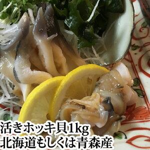 殻付き ホッキ貝 ( 活き ほっき貝 北寄貝 ホッキガイ )1kg(3〜4個) 国産 北海道 青森 刺身