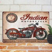 ブリキ看板インディアンバイク赤01ポスターオートバイアメリカン雑貨ビンテージ調