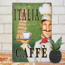 ブリキ看板 カフェ de イタリア インテリア ポスター cafe コ...