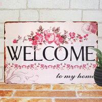 ブリキ看板ウェルカムボードroseプレートボードwelcomeインテリア結婚式披露宴openオープン雑貨