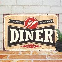 ブリキ看板DINERダイナーポスターインテリアレストランOPENオープンプレートパネル小物アメリカン雑貨