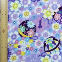 レーヨンちりめんプリント 鞠桜古裂文様 紫 65cm幅