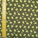 レーヨンちりめん文様 かえる 緑 65cm幅