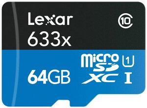 GoPro向けSDカード【Lexar(レキサー)microSDXCカード64GB*ゴープロカメラに理想的!【LSDMI64GB633A】