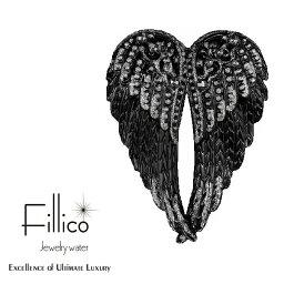 【正規品Fillico】エンジェルウイング 翼『 フィリコ メタルエンジェルウイング ブラック 』シンプルなボトルも特別なボトルに変えてくれる!アクセサリー ナフキンリング 天使の羽 インテリアスワロフスキー SWAROVSKI インスタ映え