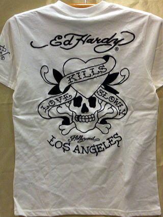 Ed Hardy 半袖Tシャツ LOVE KILL刺繍 エド・ハーディー edhardy 62kh03 【コンビニ受取対応商品】