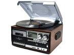 【新品】【送料無料】WINTECH マルチオーディオプレーヤー ブラウン レコード・カセット・AM・FM・CD・SD・USB・AUX KRP-308MS
