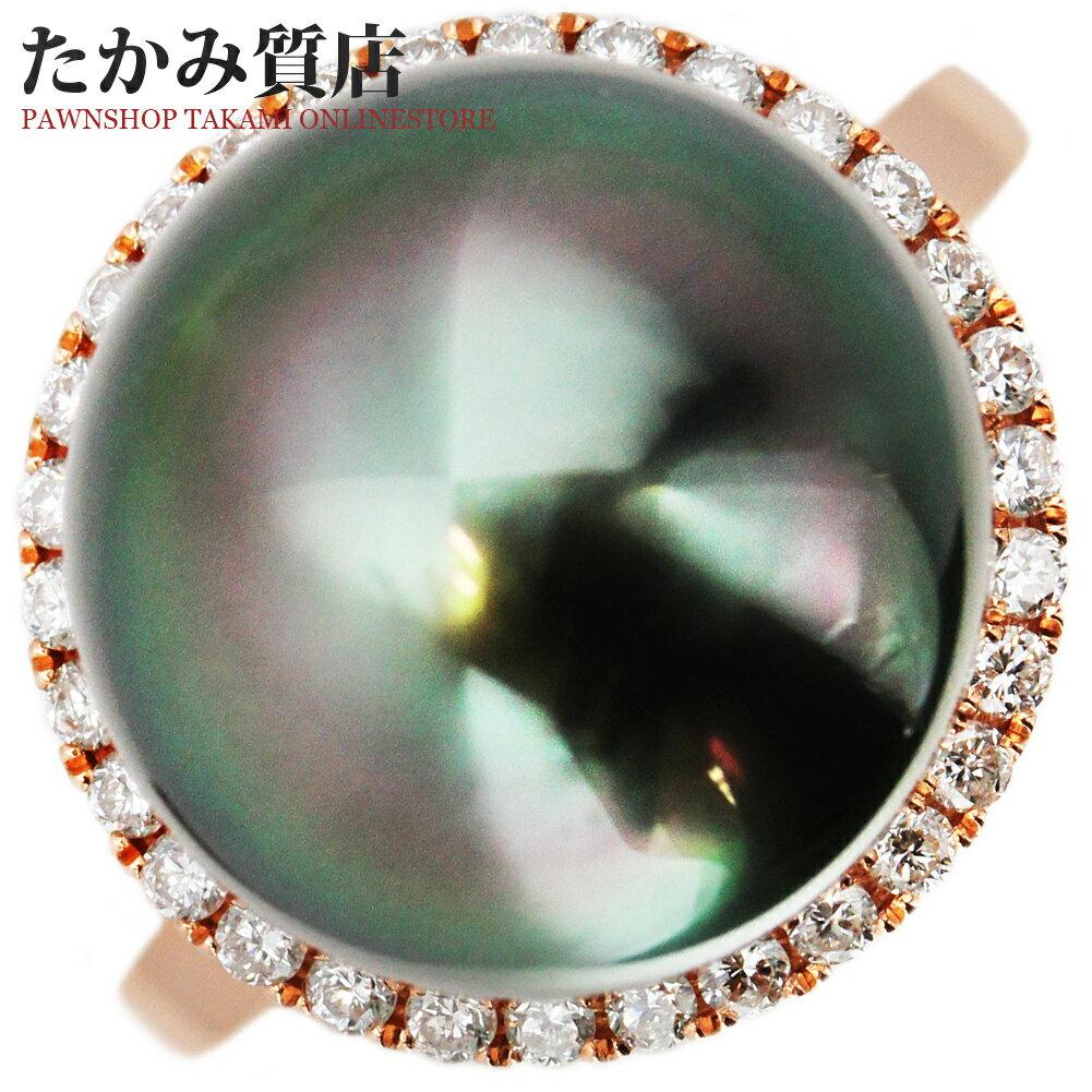 K18PG ブラックパール(黒蝶真珠)12.3ミリ/ダイヤ0.24ct 指輪(リング) 9.5号:たかみ質店