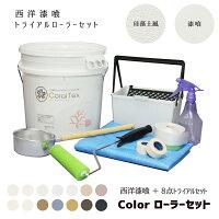 【送料無料すぐ塗れる】たっぷり20kgトライアルセット西洋漆喰コーラルテックス塗装道具のお得なローラーセット(標準色)