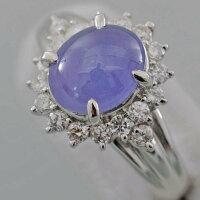 【F55】Pt900プラチナ900天然コランダムバイオレットスターサファイア3.84ctメレダイヤデザインリング指輪中古品仕上げ済み鑑別書付き
