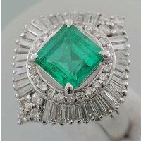 【F58】Pt900プラチナ900天然ベリルエメラルド2.81ctダイヤ取り巻き1.64ctデザインリング指輪中古品仕上げ済み鑑別書付き