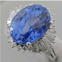 【F59】Pt900プラチナ900天然コランダムブルーサファイア12.83ctダイヤ取り巻き1.22ctデザインリング指輪中古品仕上げ済み鑑別書付き