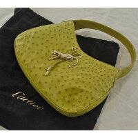 Cartierカルティエパンテールオーストリッチ本革ハンドバッグ(ショルダーバッグ)中古品黄緑色