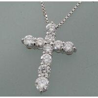【B60】プラチナ850/900ダイヤモンドクロスデザインペンダントネックレス中古品