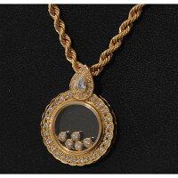 【B80】K18イエローゴールドムービング・ダイヤモンドデザインペンダントネックレス中古品