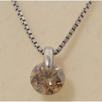 【B83】プラチナ850/900ブラウンダイヤモンド1.043ctデザインペンダントネックレス1点留め中古品