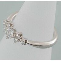 【B100】Pt950プラチナ950ダイヤモンド7石デザイン・リング(指輪)中古品仕上げ済み
