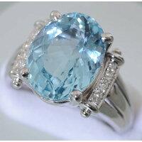 【C20】Pt900プラチナ天然ベリル(アクアマリン6.22ct)メレダイヤデザイン・リング(指輪)中古品仕上げ済み