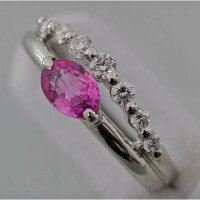 【C53】Pt900プラチナピンクサファイヤ(天然コランダム)メレダイヤデザイン・リング(指輪)中古品仕上げ済み