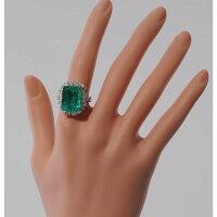 【C58】Pt900プラチナエメラルド(天然ベリル)11.192ctダイヤデザイン・リング(指輪)中古品仕上げ済み