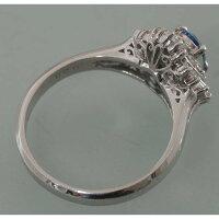 【D28】Pt900プラチナアクアマリンダイヤ取り巻きデザイン・リング(指輪)中古品仕上げ済みソーティングラベル付