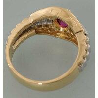 【D69】K18/Pt900イエローゴールド/プラチナ天然ルビーデザイン・リング(指輪)中古品仕上げ済み