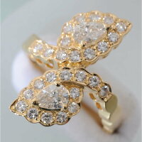 【D93】K18イエローゴールドダイヤ1.02ctデザイン・リング(指輪)中古品