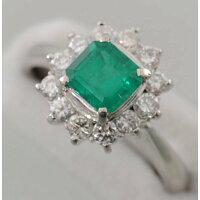 【E28】Pt900プラチナ天然エメラルド0.83ctダイヤ取り巻きデザイン・リング(指輪)エメラルド天然ベリル