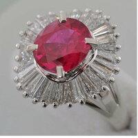 【E79】Pt900プラチナ900天然ルビー2.32ctテーパーダイヤ取り巻きデザインリング指輪