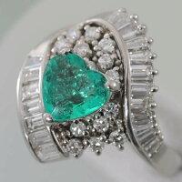 【E82】Ptプラチナハートカット天然エメラルド1.14ctダイヤデザインリング指輪